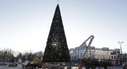 В Пскове на Октябрьской площади устанавливают новогоднюю елку