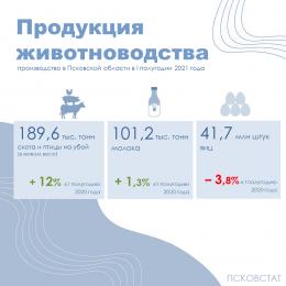 Производство продукции животноводства в 1 полугодии 2021 года